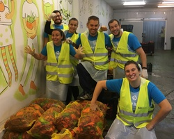 Sort out donated food for people in need in October
